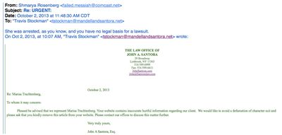 Trachtenberg lawyer email and my response 10-2014