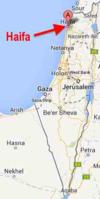 Haifa on map of Israel