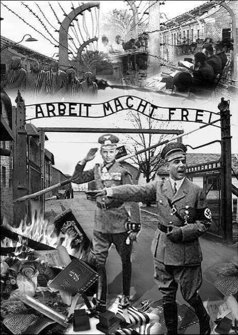 Haredi photo-cartoon depicting Lapid and Bennett as Nazis at Auschwitz 2-25-2014