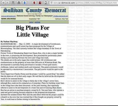 Sullivan County Democrat May 12, 2006 Duane Rowe condos and golf course