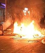 Burning garbage street Jerusalem riot
