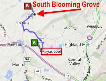 South Blooming Grove and Kiryas Joel map