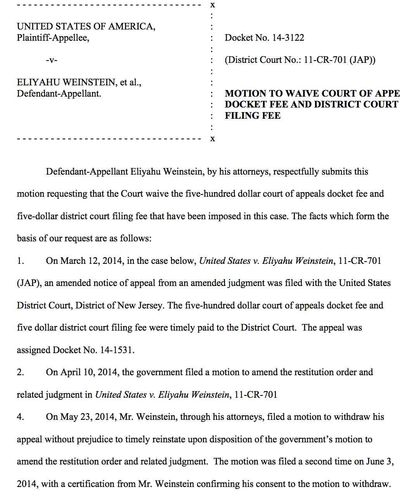 Weinstein Appeal Wave $500 page 1