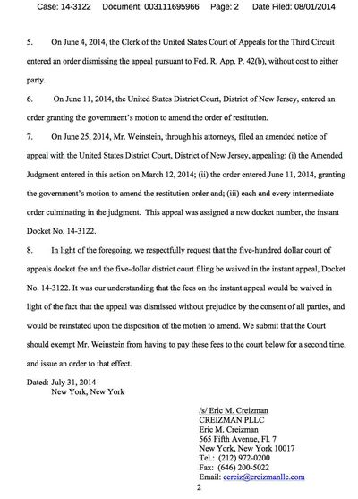 Weinstein Appeal Wave $500 page 2