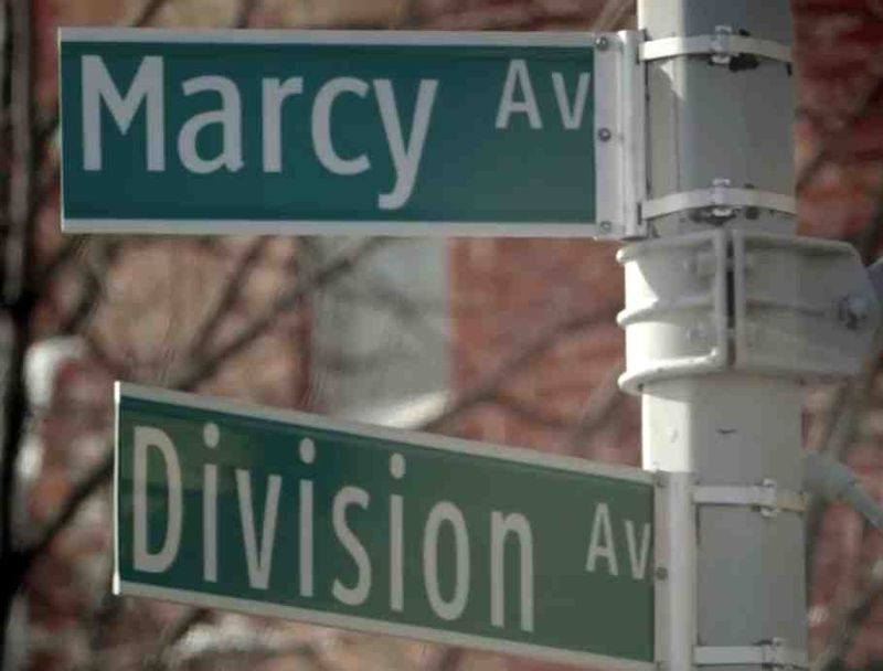 Williamsburg street signs Division and Marcy avenues