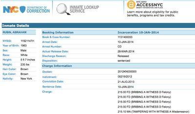 Abraham Rubin incarceration record 3-28-2014
