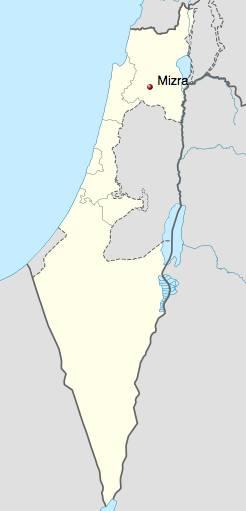 Kibbutz Mizra on map of Israel