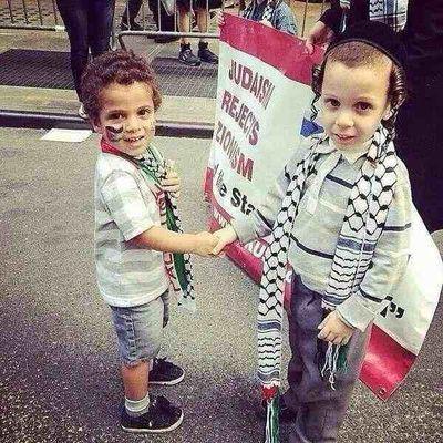 KIds Neturei Karta Anti-Israel protest Manhattan 7-20-2014