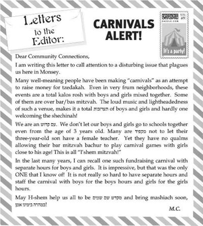 Letter against mixed carnivals Monsey Community Connections 8-7 to 8-14 2014 page 124