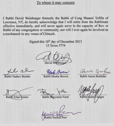 Rabbi Dovid Weinberger Resignation dated 12-2013