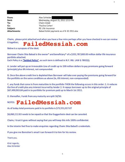 [Alex Schleider email about fake Guggenheim fraud and Babad 8-2011] 2011-08-31 - AS to CG, PC RE Life Insurance_Page_1