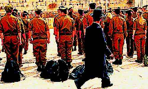 Haredi man walking past soldiers at Kotel 2