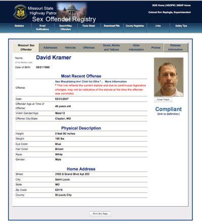 David Kramer sex offender registration screenshot 11-25-2014