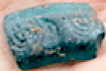 Turquoise glass bracelet fragment with 2 menorahs dated to circa 500 CE (IAA 12-2014)