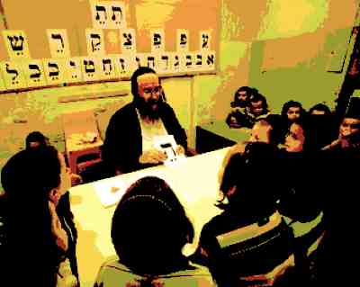 Haredi cheder teacher and students