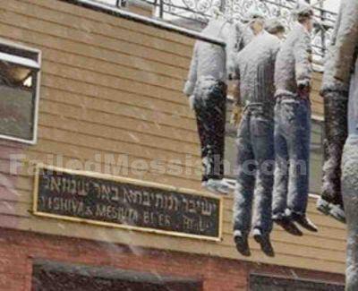 Purim effigies hanging Borough Park 3-5-2015 closeup watermarked