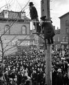 Hanging effigy of the 7th Chabad-Lubavitch Rebbe Menachem Mendel Schnerson on Hewes St and Bedord Av in Williaqmsburg 1970s Joel Teitelbaum still Satmar Rebbe