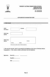 Yesodey Hatorah - Supplementary Information Form_Page_1