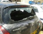 IDF officer's car after Mea Shearim attack by haredi mob 4-2015