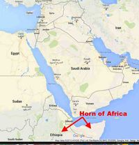 Horn of Africa map Google annotated