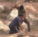 Masked Jewish Settler attacks Rabbi Arik Ascherman with stones knife near Ithamar West Bank 10-23-2015