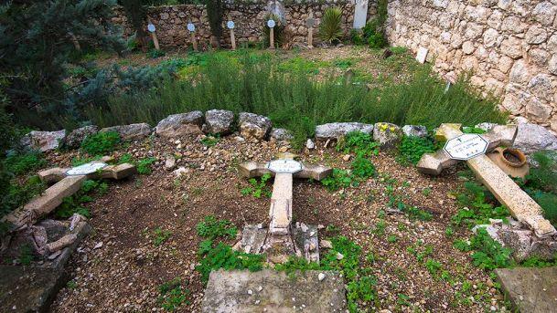 Toppled gravestones at the Beit Jamal Monastery near Beit Shemesh 12-2015