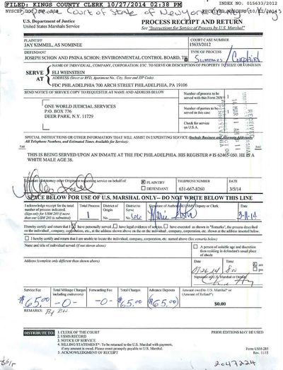 Eliyahu Weinstein summons 10-27-2014