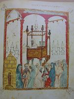 Jewish cantor reading the Passover story in al-Andalus, from a 14th-century Spanish Haggadah