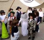 Munkatch hasidic kindergarten moc wedding of biblical patriarch Yitzhak to Rivka shtreimls, etc., 11-2014jpg