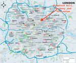 Map of London with Hackney, Tottenham and Stamford Hill noted
