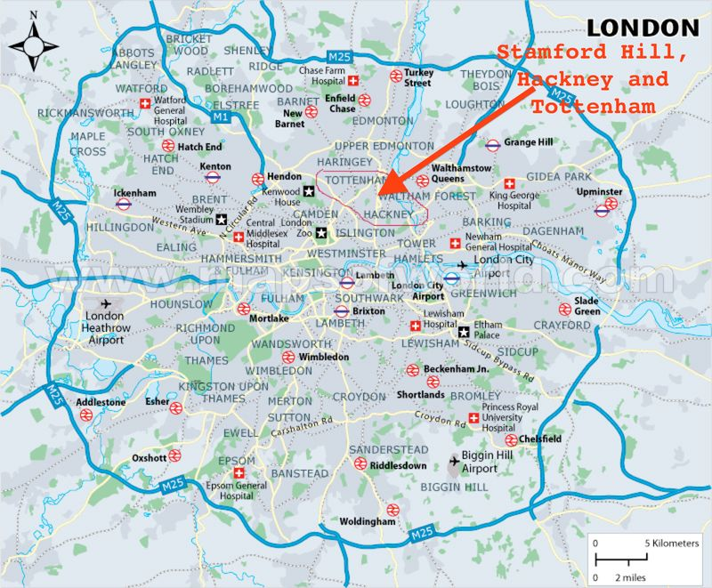 Tottenham London Map.Map Of London With Hackney Tottenham And Stamford Hill Noted