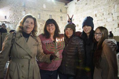 Anat Hoffman, Sarah Silverman, Rabbi Susan Silverman, etc Kotel Menorah lighting ceremony 12-18-2014