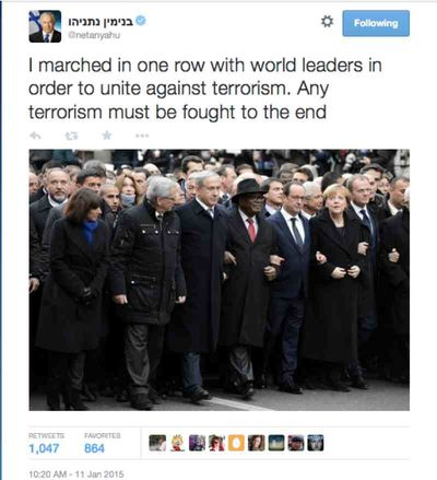 Netanyahu tweet 1-11-2015 crops out Abbas from Paris unity rally picture