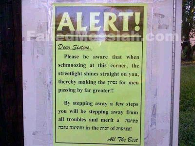 Haredi modesty streetlight warning 6-11-2015