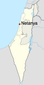 Netanya map of Israel