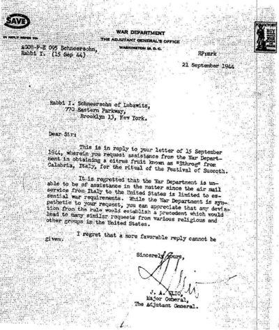 War Department Letter To Rabbi J I Schneersohn Sukkot 1944