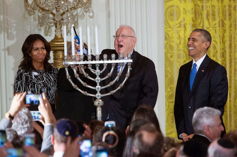 White House Hanukkah Menorah Lighting Reuven Ruby Rivlin 12-2015