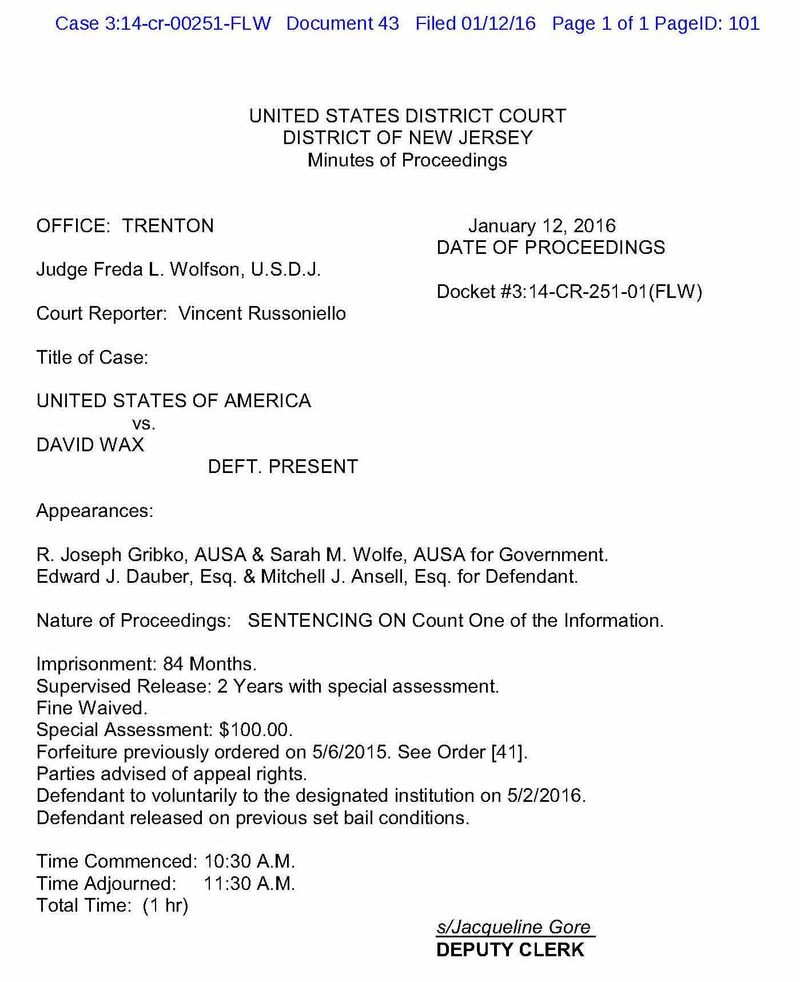 David Wax Sentencing 1-12-2016