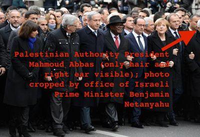 Paris unity rally 1-11-2015 picture Netanyahu crops out Abbas