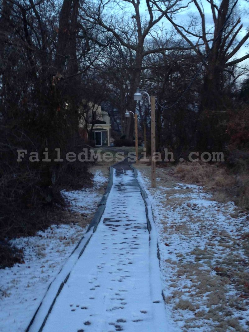 Lighted path from Ner Israel to Isaac Neuberger's house annotated 1-23-2015