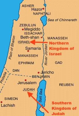Biblical Israel and Judah map