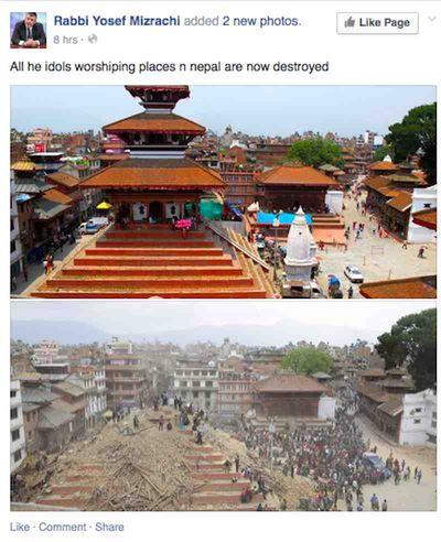 Rabbi Yosefr Mizrachi Facebook Nepal earthquake post 4-27-2015