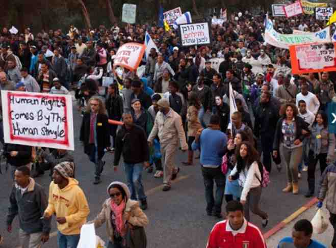 Ethiopian Jews Protest Racism Jerusalem 1-18-2012
