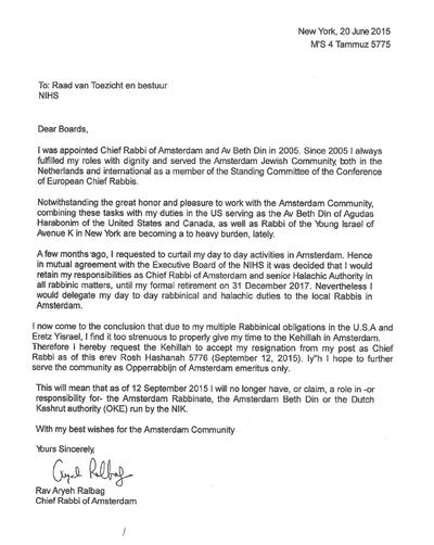 Ralbag resignation letter 6-2015