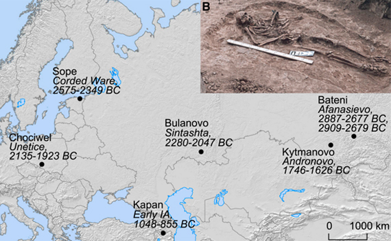 Map showing where the remains of the Bronze Age plague victims were found
