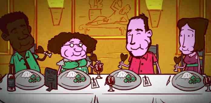 Screenshot of cartoon people eating from Weizman Institute of Science video 11-19-2015