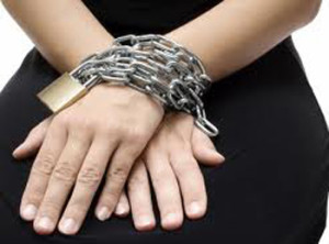 Woman hands chains