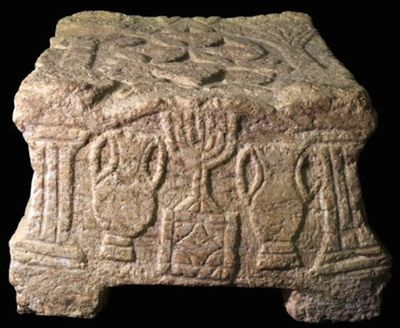 One side of the Magdala Stone.YAEL YOLOVICH-- ISRAEL ANTIQUITIES AUTHORITY