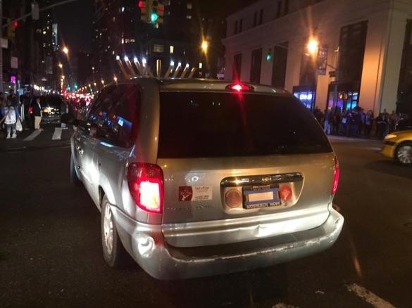 Chabad Hanukkah parade 12-12-2015 license plate covered