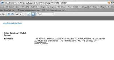 """Quantum Audit Filing """"Mailed"""" 9-15-08"""